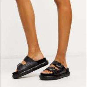 Free People Panama Black Slide On Footbed Sandals